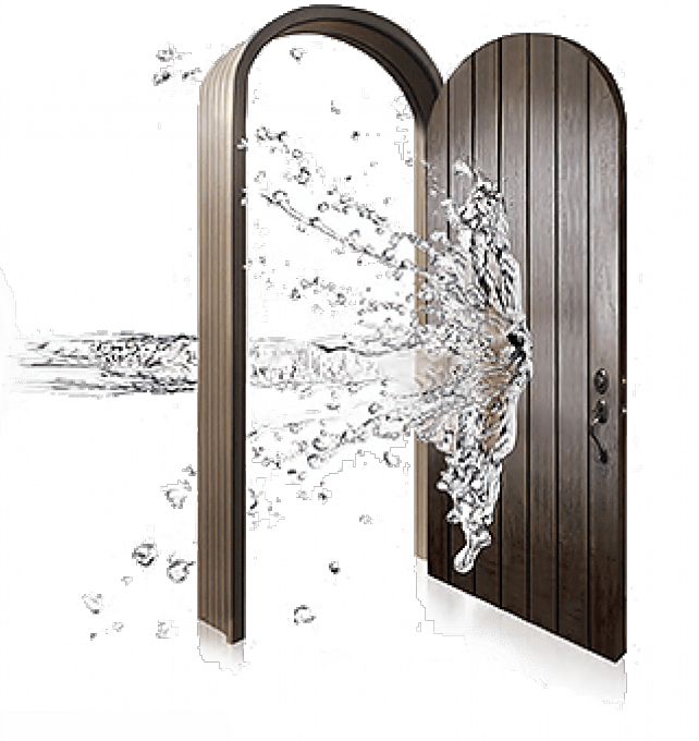A vector images of water entering through a front door.